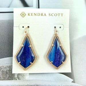 Kendra Scott Alex navy dusted rose gold earrings